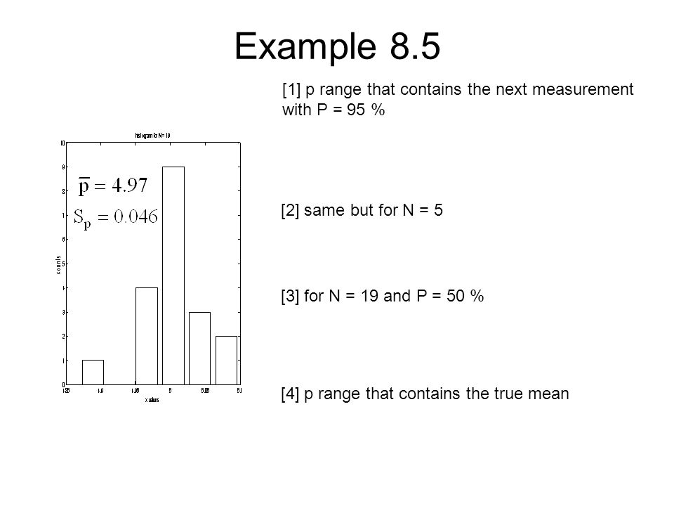 Example 8.5 [1] p range that contains the next measurement